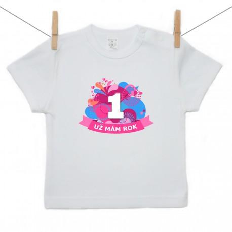 Tričko s krátkym rukávom Už mám 1 rok Rúžová