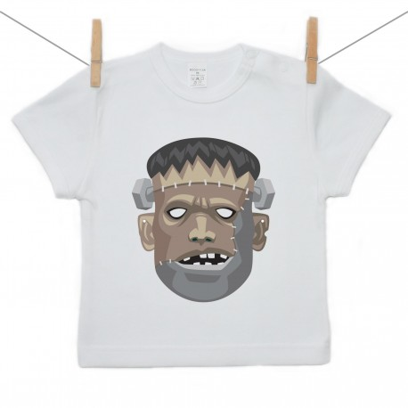 Tričko s krátkym rukávom Halloween maska Frankenstein