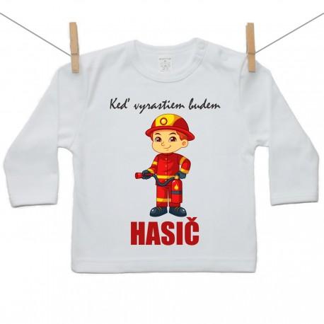 Tričko s dlhým rukávom Keď vyrastiem budem hasič
