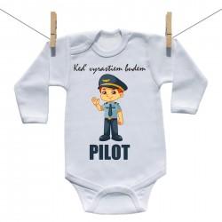 Body s dlhým rukávom Keď vyrastiem budem pilot