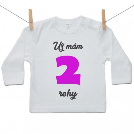 Tričko s dlhým rukávom Už mám 2 roky Dievča