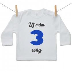 Tričko s dlhým rukávom Už mám 3 roky Chlapec