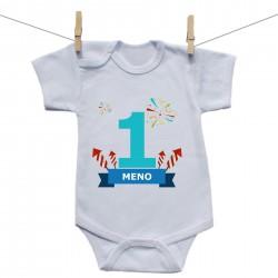 Body s krátkym rukávom 1 Rok s menom dieťatka Chlapec