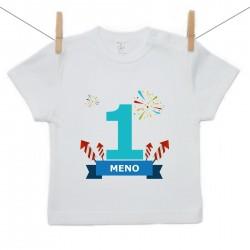 Tričko s krátkym rukávom 1 Rok s menom dieťatka Chlapec