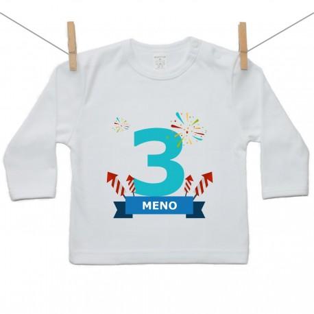 Tričko s dlhým rukávom 3 Roky s menom dieťatka Chlapec