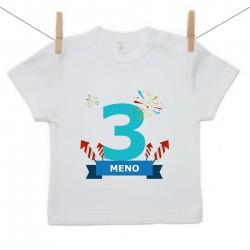 Tričko s krátkym rukávom 3 Roky s menom dieťatka Chlapec