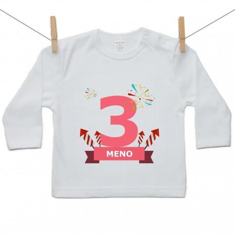 Tričko s dlhým rukávom 3 Roky s menom dieťatka Dievča
