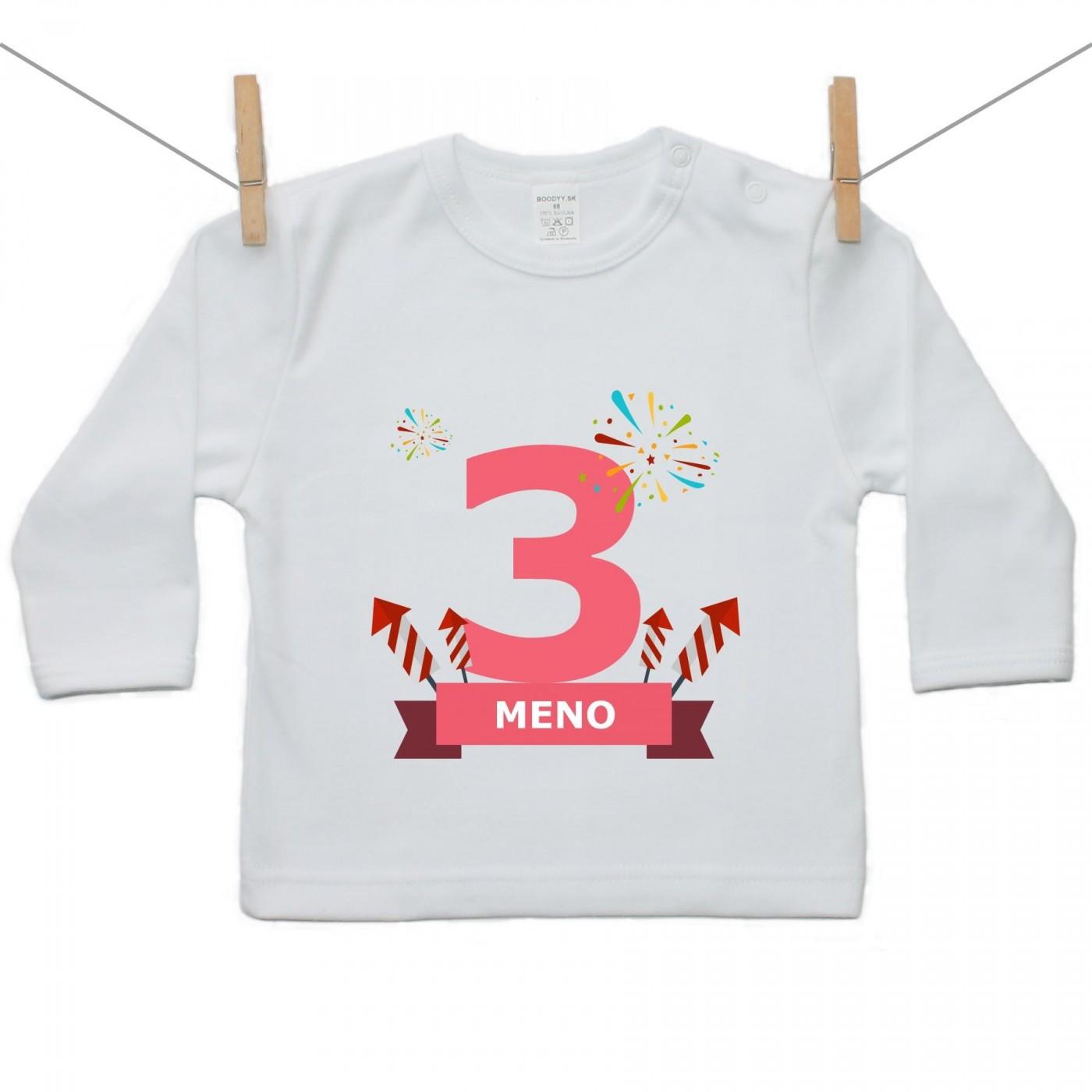4d5d6db6f Tričko s dlhým rukávom 3 Roky s menom dieťatka Dievča - Tričká s ...