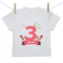 Tričko s krátkym rukávom 3 Roky s menom dieťatka Dievča