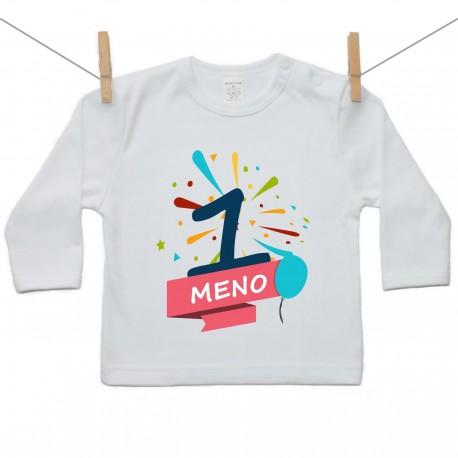 Tričko s dlhým rukávom 1 Rok s menom dieťatka Chlapec