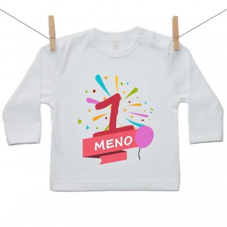 Tričko s dlhým rukávom 1 Rok s menom dieťatka Dievča