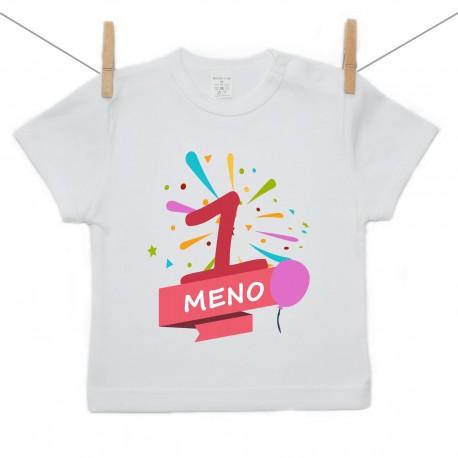 Tričko s krátkym rukávom 1 Rok s menom dieťatka Dievča