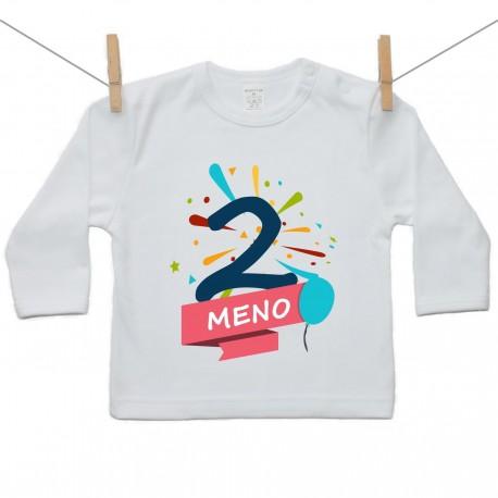 Tričko s dlhým rukávom 2 Roky s menom dieťatka Chlapec