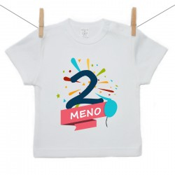 Tričko s krátkym rukávom 2 Roky s menom dieťatka Chlapec
