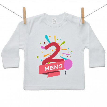 Tričko s dlhým rukávom 2 Roky s menom dieťatka Dievča