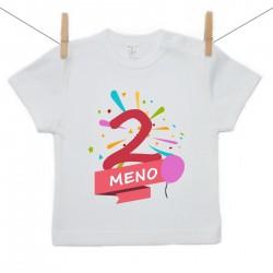Tričko s krátkym rukávom 2 Roky s menom dieťatka Dievča