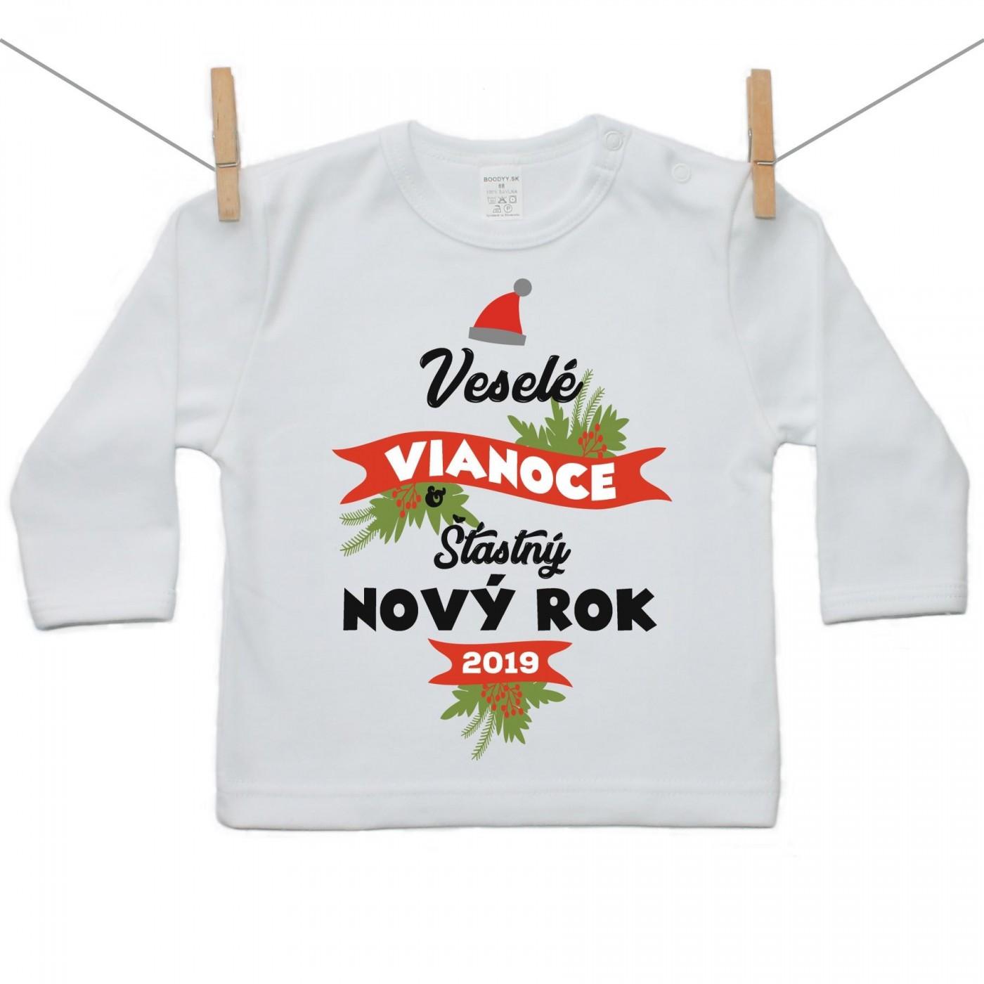 755158b0d960 Tričko s dlhým rukávom Veselé Vianoce a šťastný nový rok - Tričká s ...