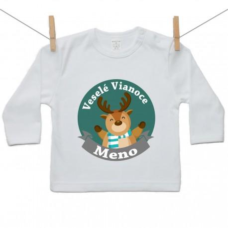 Tričko s dlhým rukávom Veseslé Vianoce s menom dieťatka