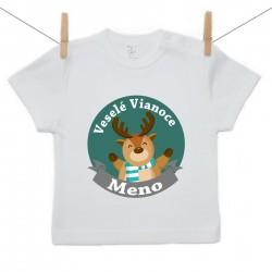 Tričko s krátkym rukávom Veseslé Vianoce s menom dieťatka