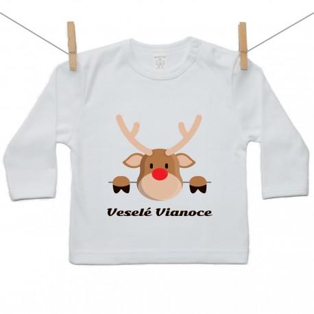 Tričko s dlhým rukávom Veselé Vianoce so sobom