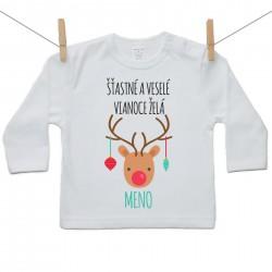 Tričko s dlhým rukávom Šťastné a veselé Vianoce želá s menom dieťatka Chlapec