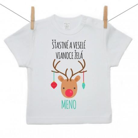 Tričko s krátkym rukávom Šťastné a veselé Vianoce želá s menom dieťatka Chlapec