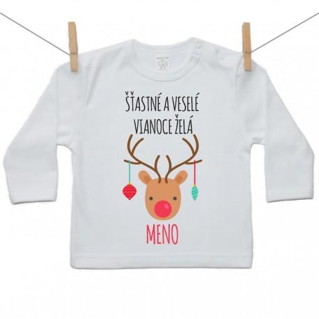 Tričko s dlhým rukávom Šťastné a veselé Vianoce želá s menom dieťatka Dievča