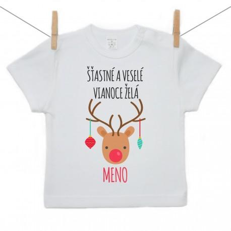 Tričko s krátkym rukávom Šťastné a veselé Vianoce želá s menom dieťatka Dievča