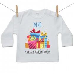 Tričko s dlhým rukávom Najkrajší vianočný darček s menom dieťatka Chlapec
