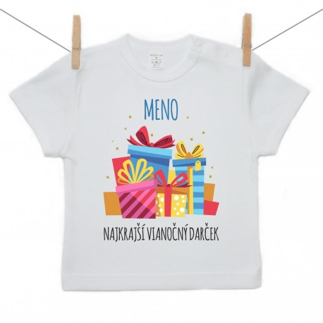 Tričko s krátkym rukávom Najkrajší vianočný darček s menom dieťatka Chlapec