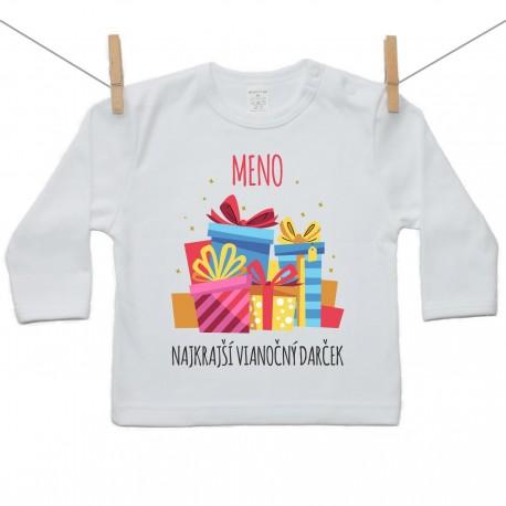 Tričko s dlhým rukávom Najkrajší vianočný darček s menom dieťatka Dievča