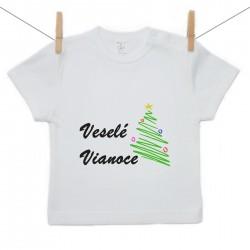 Tričko s krátkym rukávom Veselé Vianoce so stromčekom