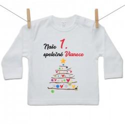 Tričko s dlhým rukávom Naše 1. spoločné Vianoce