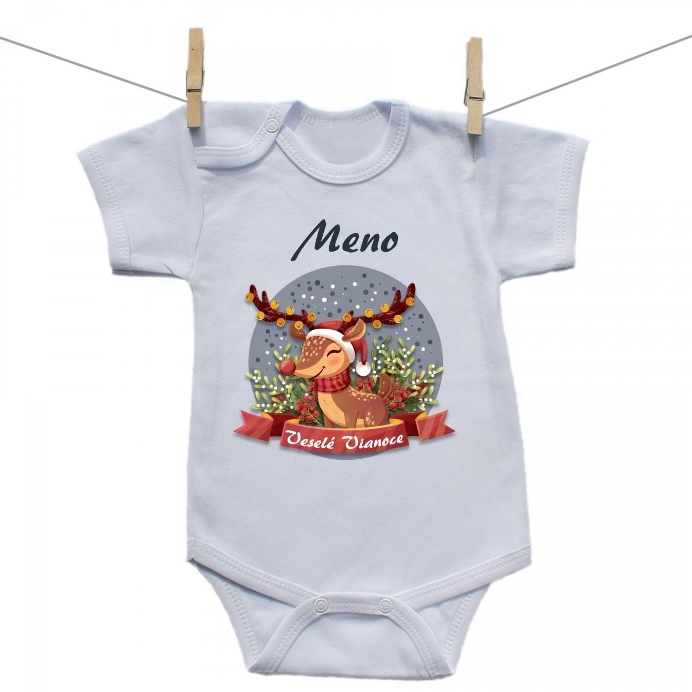 f6298329509f Body s krátkym rukávom Veselé Vianoce so sobíkom a menom dieťatka ...