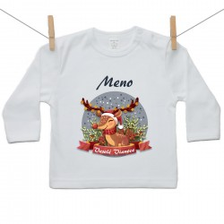 Tričko s dlhým rukávom Veselé Vianoce so sobíkom a menom dieťatka