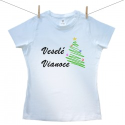 Dámske tričko s krátkym rukávom Veselé Vianoce so stomčekom