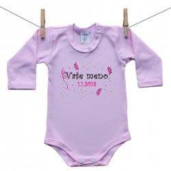 Body s dlhým rukávom (ružové) s menom dieťaťa a dátumom Dievča
