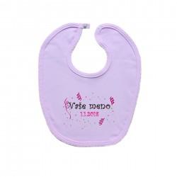 Podbradník na zapínanie (ružový) s menom dieťaťa a dátumom Dievča