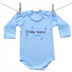 Body s dlhým rukávom (modré) s menom dieťaťa a dátumom Chlapec