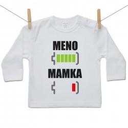 Tričko s dlhým rukávom Batéria nabitá/vybitá mamka s menom