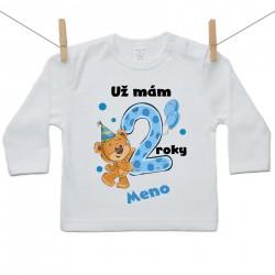 Tričko s dlhým rukávom Už mám 2 roky s Medvedíkom a menom dieťatka Chlapec