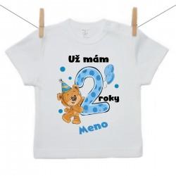 Tričko s krátkym rukávom Už mám 2 roky s Medvedíkom a menom dieťatka Chlapec