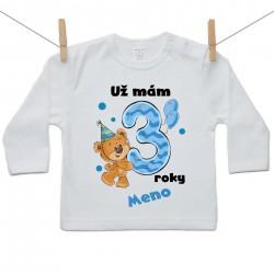 Tričko s dlhým rukávom Už mám 3 roky s Medvedíkom a menom dieťatka Chlapec