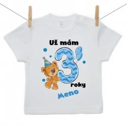 Tričko s krátkym rukávom Už mám 3 roky s Medvedíkom a menom dieťatka Chlapec