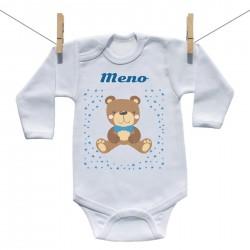 Body s dlhým rukávom s menom dieťaťa Medvedík Chlapec