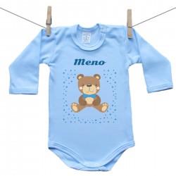 Modré body s dlhým rukávom s menom dieťaťa Medvedík Chlapec