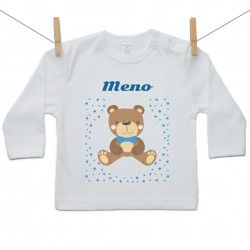 Tričko s dlhým rukávom s menom dieťaťa Medvedík Chlapec