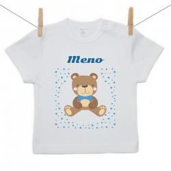 Tričko s krátkym rukávom s menom dieťaťa Medvedík Chlapec