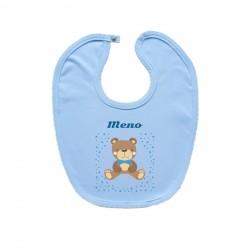 Modrý podbradník na zapínanie s menom dieťaťa Medvedík Chlapec