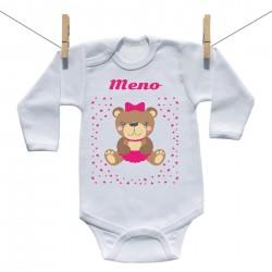 Body s dlhým rukávom s menom dieťaťa Medvedík Dievča